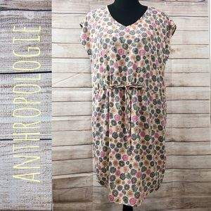 Anthropologie | Floral print drawstring dress
